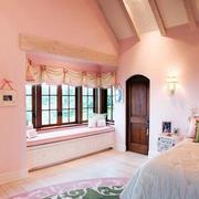 复式楼阁楼田园卧室飘窗装修效果图