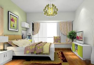 朝气蓬勃的田园卧室飘窗设计效果图