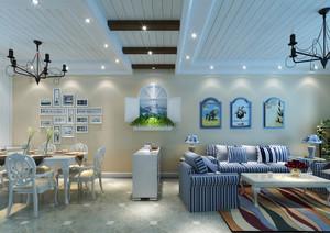 地中海田园混搭客餐厅过道吊顶效果图