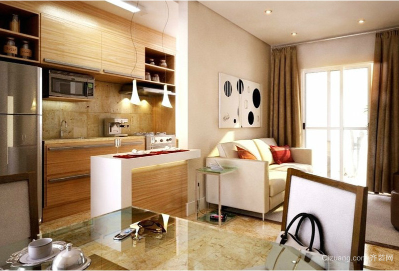 2016大户型欧式开放式厨房装修效果图实例