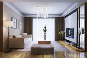 现代欧式大户型客厅石膏板吊顶装修效果图
