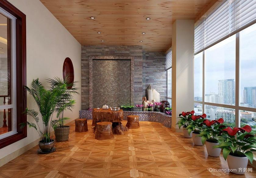 清新宜家的大户型阳台装修实景图