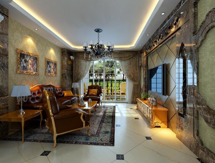 复古巴洛克风格复式楼客厅装修效果图