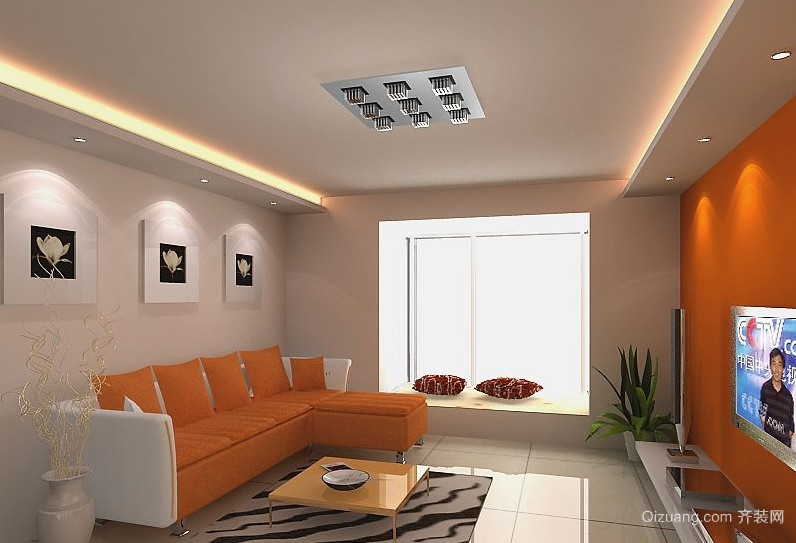 美式二居室硅藻泥电视背景墙装修效果图
