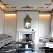 简约巴洛克风格小客厅家具效果图