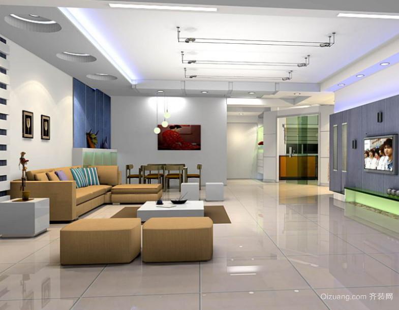 欧式现代大户型客厅沙发背景墙装修效果图