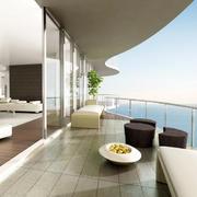 现代海景房宜家阳台装修实景图