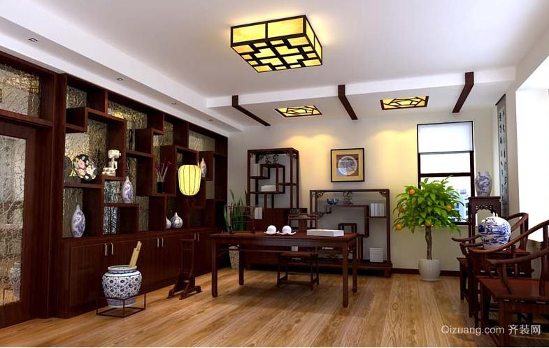大户型中式风格精致的现代书房装修效果图