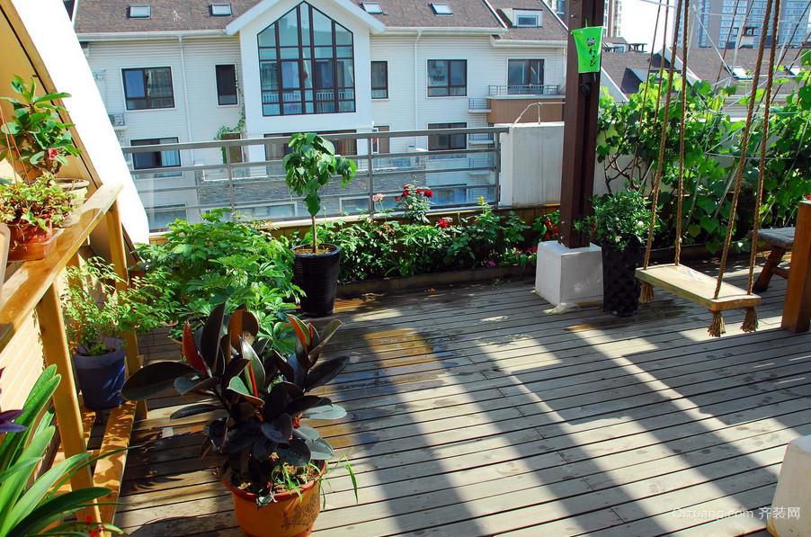 宜家花园式大阳台装修效果实景图