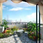 两居室乡村风格小阳台装修实景图