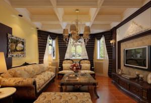 二居室美式风格室内石膏板吊顶装修效果图