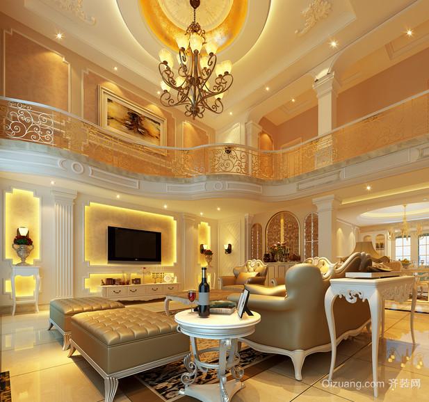 高雅的欧式风格复式楼客厅装修效果图