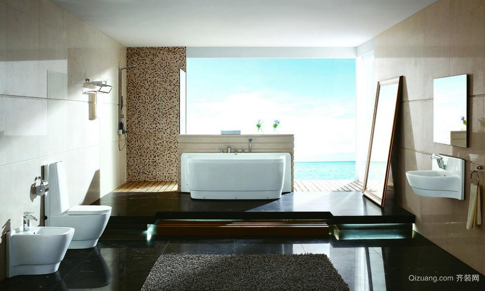 自建别墅欧式风格浴室背景墙装修效果图