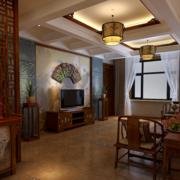 大户型中式风格房子客厅装修效果图