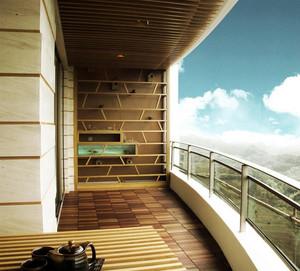 朴素浅色调小户型阳台装修效果图