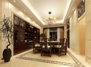 三居室中式餐厅背景墙装修效果图实例