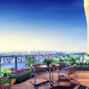 迷人芬芳的乡村风大阳台装修效果图