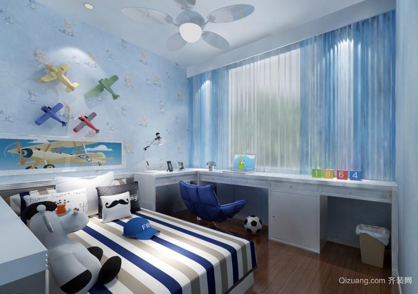 韩式小户型蓝色儿童房设计效果图