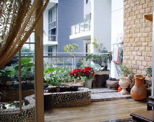 古典园林式三居室小阳台装修效果图