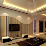 现代欧式风格大户型电视墙背景装修效果图
