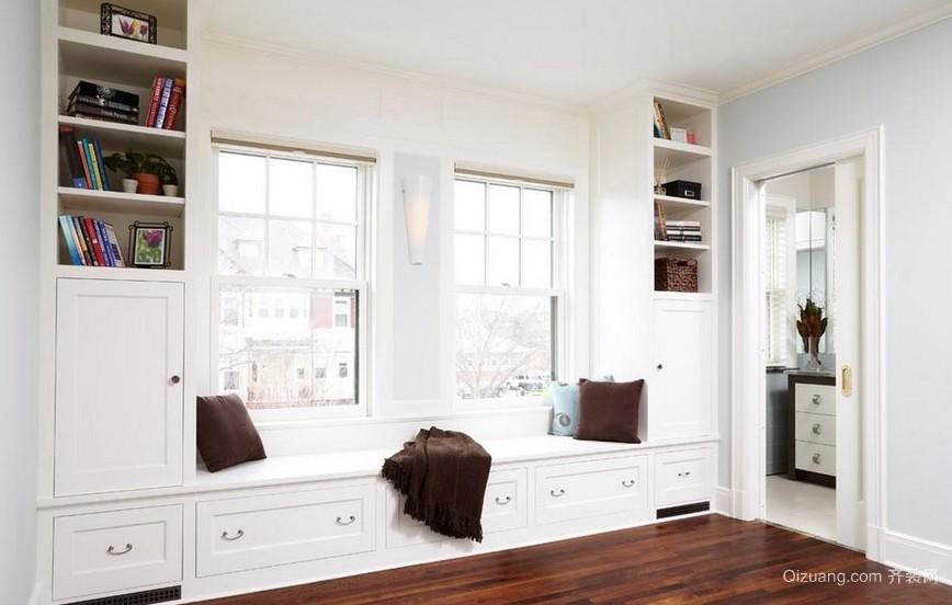 北欧风白色飘窗置物柜设计效果图