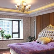 简欧风格23平米卧室飘窗设计效果图