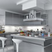后现代灰白色调厨房装修设计效果图