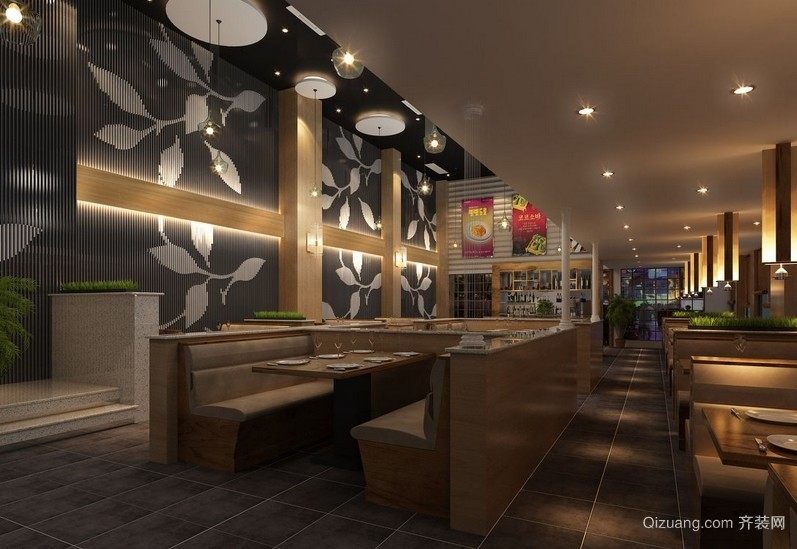 2016高级韩式大型餐厅装修效果图