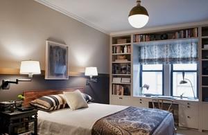 混搭风小卧室飘窗书桌设计效果图