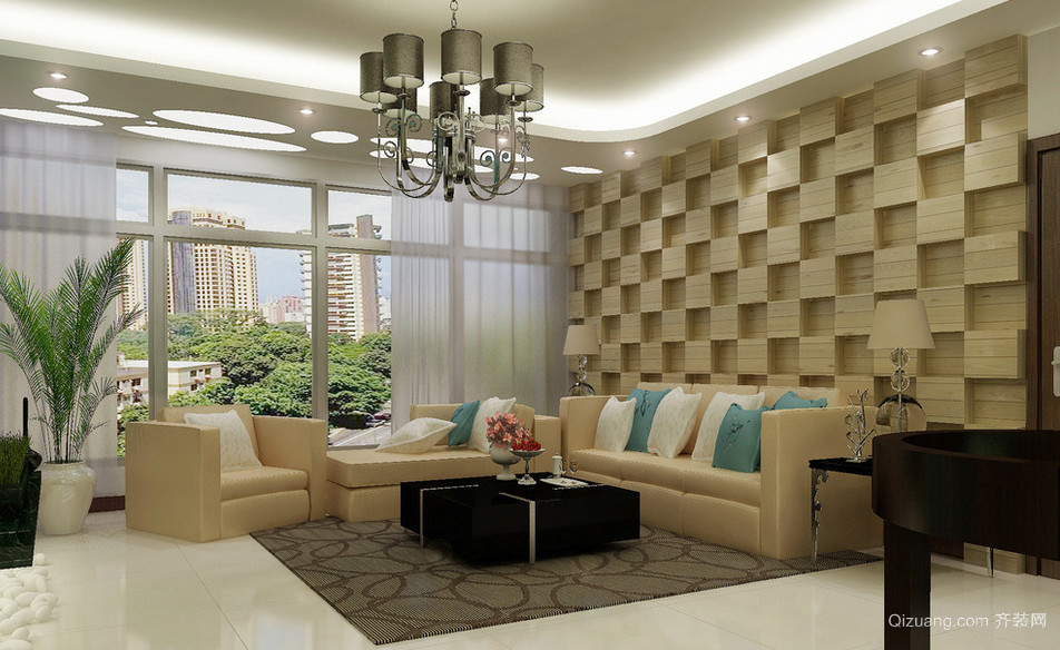 2016大户型欧式风格客厅沙发背景墙效果图