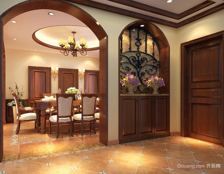 华丽精致的一居室美式风格玄关装修效果图