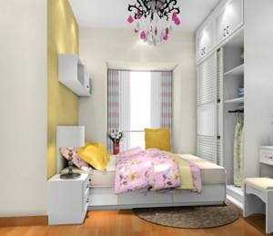 2016三居室韩式风格卧室背景墙装修效果图
