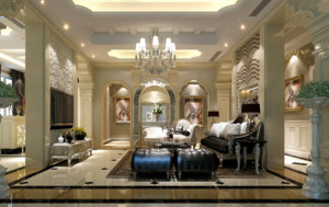 新古典风格别墅室内电视墙背景装修效果图