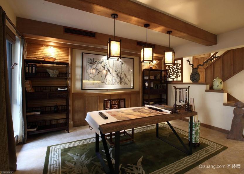 小别墅典雅复古风书房设计装修效果图