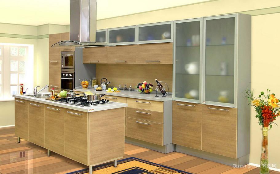 110平米乡村厨房实木橱柜装修效果图大全