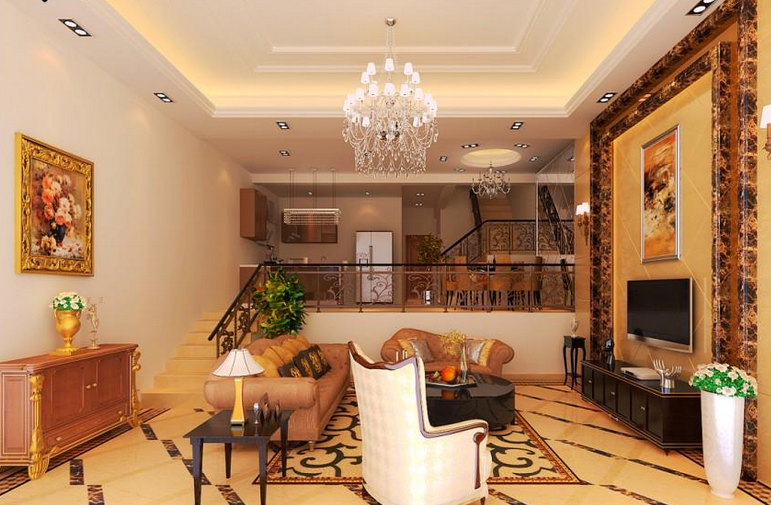 错层现代简约式客厅装修效果图