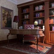 东南亚风书房实木书柜设计装修效果图