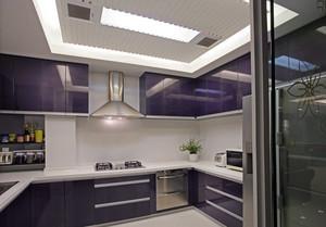 2016韩式厨房紫色橱柜装修效果图大全