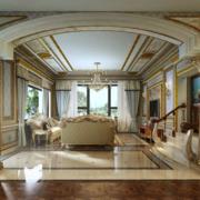 巴洛克风格大户型客厅影视墙装修效果图