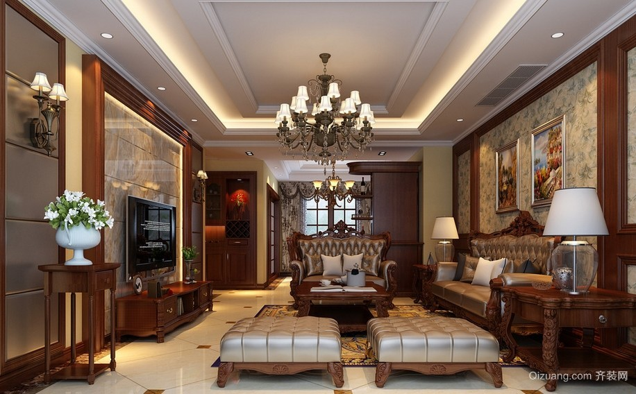 别墅美式装修风格样板房客厅装修效果图