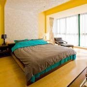 两室一厅橙色明亮卧室