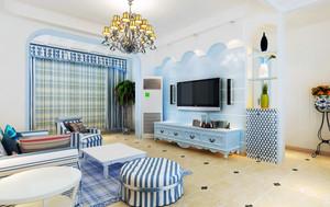 清凉欢快:地中海风格小客厅装修图片