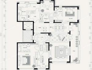 104平米优雅安静的两室一厅装修图