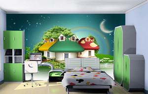 儿童房背景墙个性壁纸