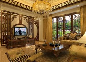 大别墅古典客厅电视背景墙效果图