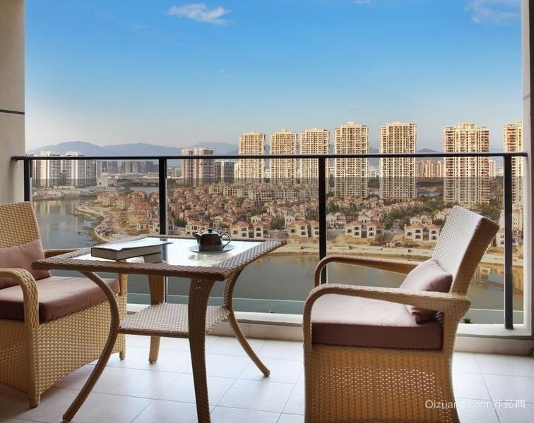 单身公寓韩式风格阳台设计装修效果图