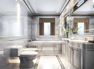 米白色的韩式风格大卫生间装修图片