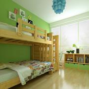 绿色乡村风小儿童房设计装修效果图