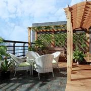韩式小清新复式楼阳台设计装修效果图