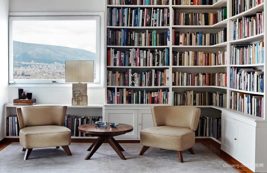 独栋别墅韩式小书房设计装修效果图